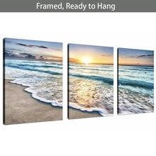 В рамке готовы повесить 3 панели пляжа холст стены искусства