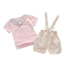 Летние костюмы для младенцев одежда маленьких девочек футболка