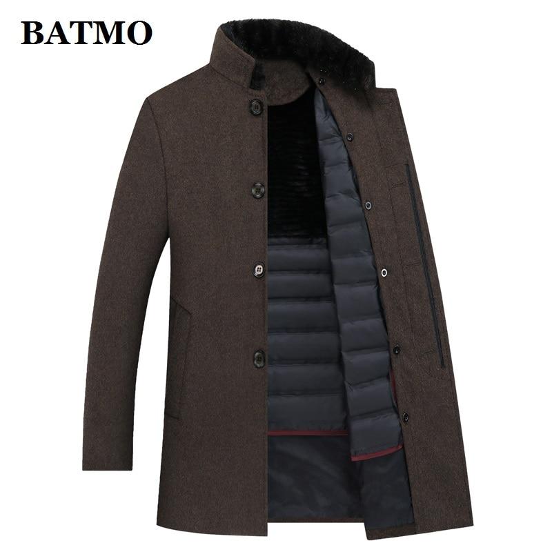 BATMO wool trench coat men,men's 90% white duck down wool jackets ,thicked wool coat men,plus-size M-XXXL 8866A