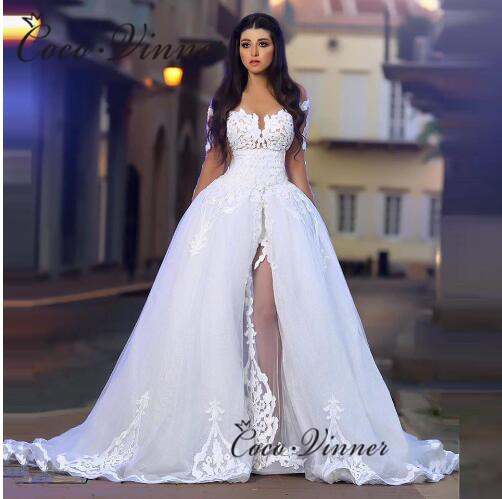 Sexy Embroidery Wedding Dress 2 In 1 Long Sleeves Wrap Romania Stylish Wedding Gowns Tulle Pure White Ball Gown W0455