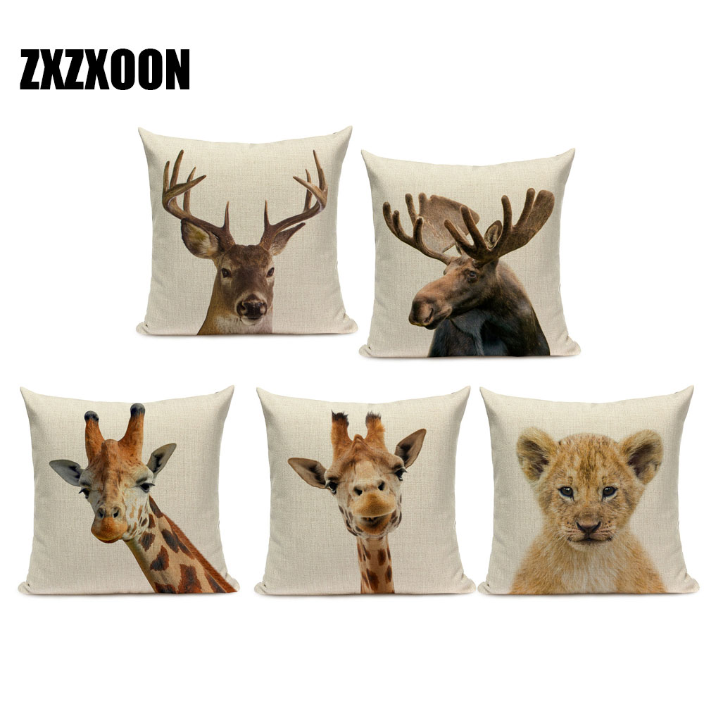 Minimalist Animal Pillow Case Linen 30x50cm Throw Cushion Cover Home Ornament