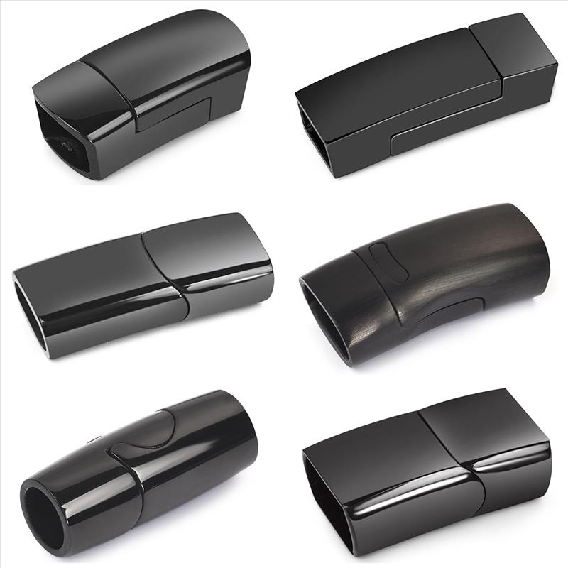 Stainless Steel Magnet Buckle Black Magnetic Clasp Leather Cord Bracelet Connector Components DIY For Jewelry Making Accessories