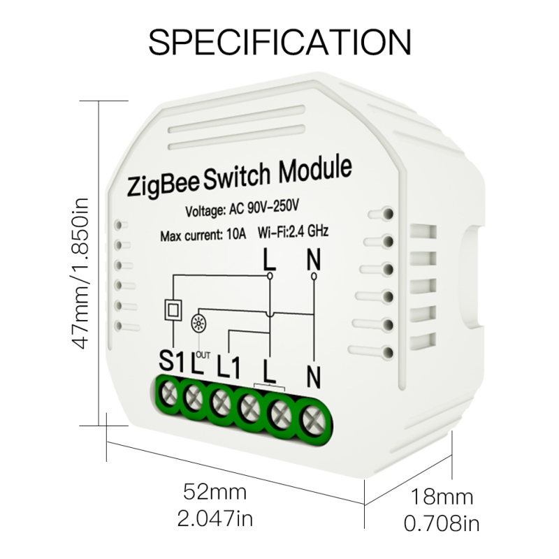 Mini DIY ZigBee 3.0 Smart Light Switch Module AC90-250V 10A Smart Life/Tuya Timing Home Automation Work With Alexa Google Home