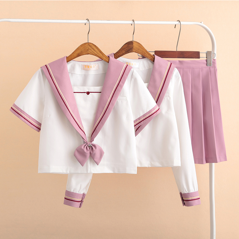 New Arrival School Uniform Girl Sailor Suit Sets JK School Uniforms For Girls White Shirt And Pink Skirt Suits Student Cosplay