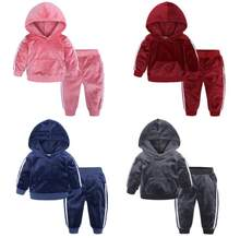 2019 autumn fashion baby girl clothes velvet long sleeve solid zipper jacket+pants 2pcs bebes tracksuit baby boy clothing set(China)