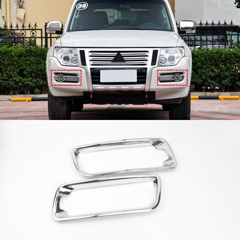 Fit for Mitsubishi Pajero V80 2015-2019 Car Styling Chrome Front Fog Light Lamp Sticker Cover Trim 2pcs Auto Accessories