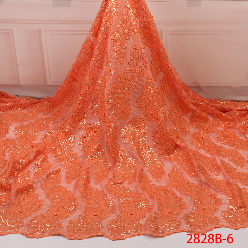French Lace African Lace Fabric  Nigeria Lace Fabric With Sequins Organza 2019 Newest Wedding Dress Fabric YA2828-6