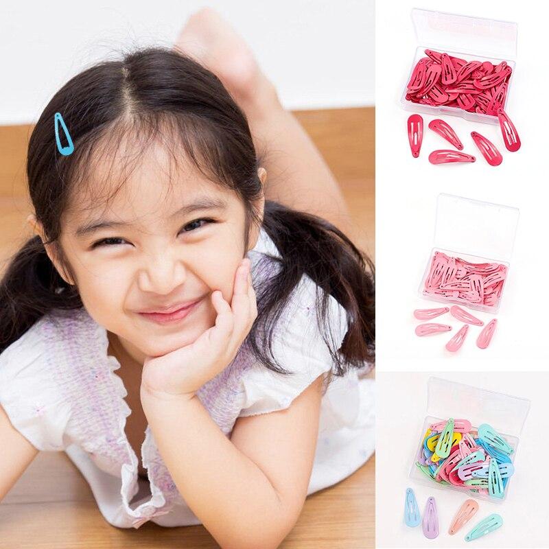 50 шт./кор. для маленьких девочек Разноцветные Цвет заколки для волос из 3 см Non-slip металлические заколки конфеты Цвет модная одежда для девоче...