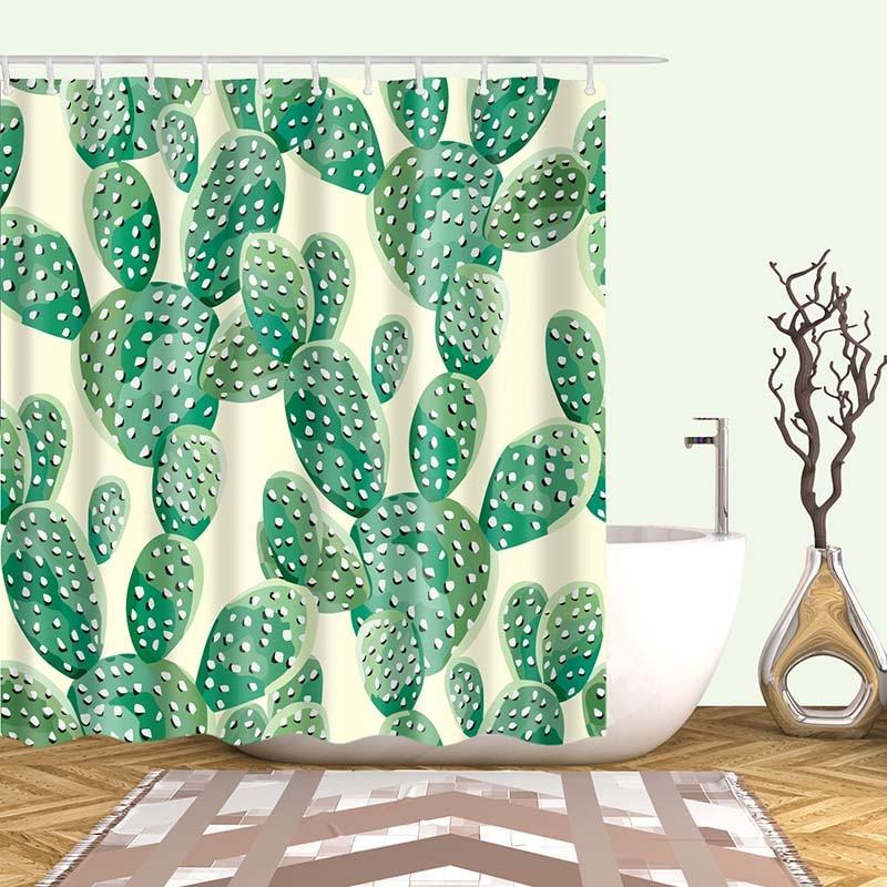 Тропический кактус, занавеска для душа, полиэфирная ткань, занавеска для ванной комнаты, украшения для ванной комнаты, мульти-размер, занавеска для душа с принтом s - Цвет: 14