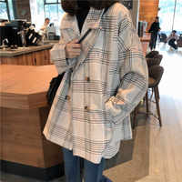 Women Autumn Winter Plaid Trench Coat Long Clothes Overcoat with Cotton Inside Plus Size Manteau Femme Casaco Feminino