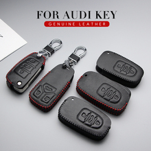 Genuine Leather Car Key Cover Key Case For Audi A3 8P A4 B6 B9 Q7 Q8 Rs3 A5 Coupe S5 A1 S1 2017 2019 Key Ring Shell Accessories