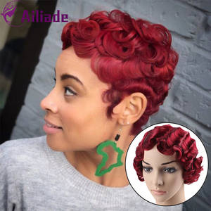 Bob Wigs Orange Short Synthetic-Hair Curly Pink Women Gold Red AILIADE Finger-Waves Best-Selling