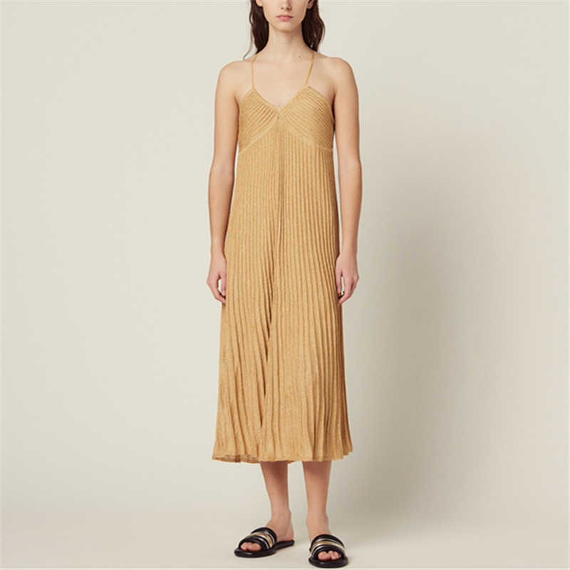 Runway Sexy Shiny Spaghetti Strap Halter Ladies Knitted Dress Slim Backless Women Dresses Summer Holiday Beach Midi Vestidos