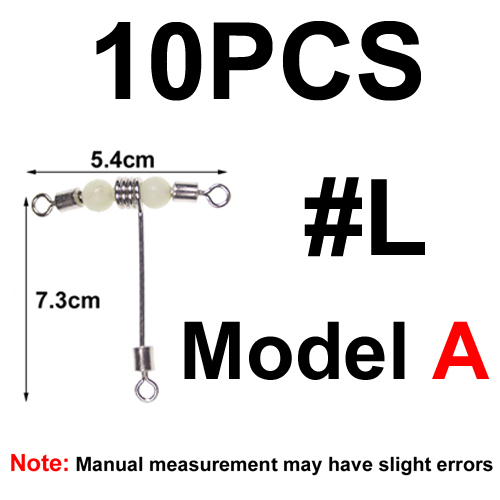 10 Pcs Fishing Connector 3 Way Luminous T-shape Cross-line Swivels C1A5 NEW P3O5