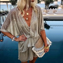 купить Women Wrap Irregular Sequin Party Dresses Sequined Sparkly Glitter Plunge V Neck Sexy Dress Vestidos онлайн