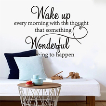 купить WAKE UP EVERY MORNING DREAM Quote Wall Stickers Art Room Removable Decals DIY Sticker mural дешево