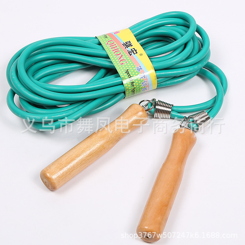 New Style Wooden Handle Rubber Groups Jump Rope Training Game Jump Rope Sports Supplies Jump Rope