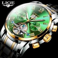 LIGE Men Watches 50M Waterproof Automatic Mechanical Wrist Watch Men Fashion Business Stainless Steel Date Watch Male Relojes