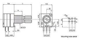 Image 3 - [Bella] Speciale Audio/Versterker/Hoge Precisie Dubbele Potentiometer 097 RK097G A10K A20K A50K A100K 15MM  5PCS/Lot