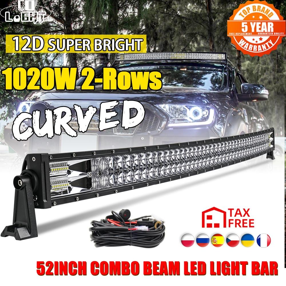 CO LUZ 12D 52 polegada 1020W Curvo LED Light Bar Flood Mancha Combo Feixe Led Luz de Trabalho Para A Condução trator Offroad UAZ 4x4 12V 24V