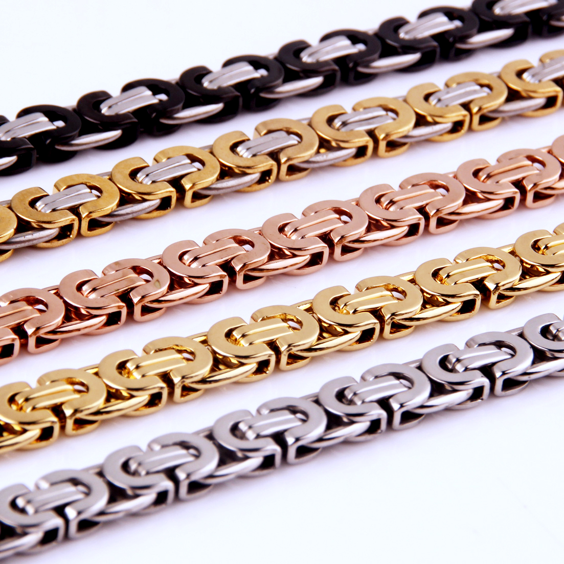 8mm Wide Silver Gold Black Color Stainless Steel Byzantine Box Chain Necklace Or Bracelet Mens 7 40 quot Free Choose Jewelry in Chain Necklaces from Jewelry amp Accessories