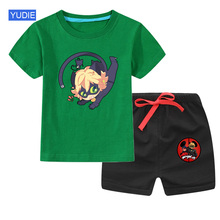 cat noir costume Cotton girls Clothes Sets Suit Summer t Shirts Shorts 2pieces Suit Children Sets Clothing Kids New baby Toddler цена 2017