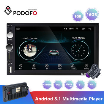 Podofo 2 din android 8.1 Car Radio Bluetooth GPS Navigation Wifi Stereo Video 7'' Universal Autoradio MirrorLink Stereo Audio image