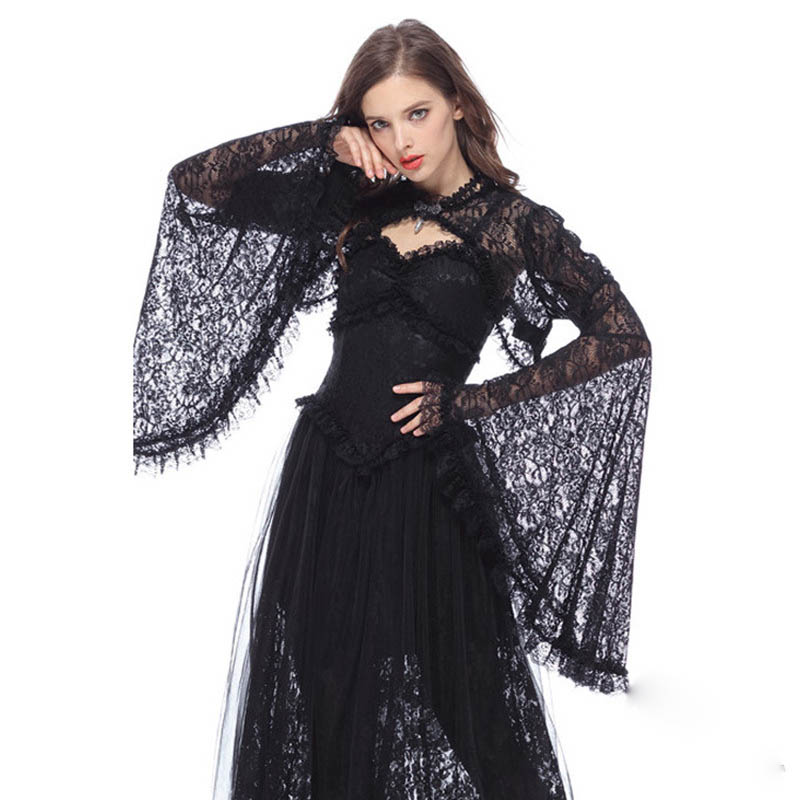 Women Victorian Vintage Gothic Lace Hollow Out Cape Shawl Asymmetrical Sleeve Retro Tippet Cosplay Halloween Medieval Costume