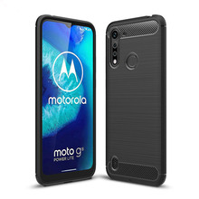 Soft Carbon Fiber Case For Motorola Moto G8 Power Lite Cover Protective Housings Phone Bumper For Moto G8 Power Lite Case 6.5''