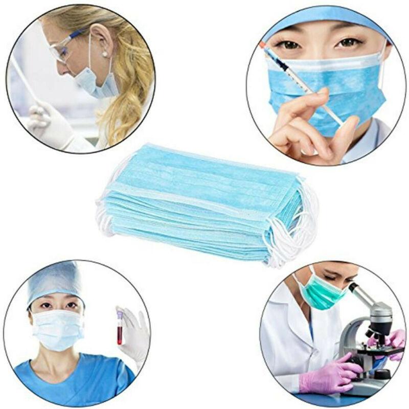 2020 Anti-virus 50 PCS Mouth Mask Disposable White Mouth Face Masks Disposable White Blue Masks Non-Woven Mask Anti-Dust Masks