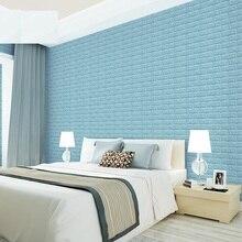 EWAYS DIY 3D Wall Stickers PE Foam Safty Home Decor Wallpaper Brick Living Room Kids Bedroom Decorative Sticker