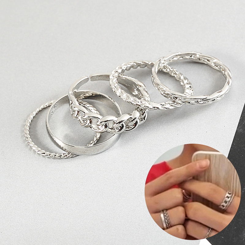 5pcs/set Kpop Bangtan Boys Ring As With V Fashion New Arrivals Finger Ring K-pop Bangtan Boys Alloy Stationery Set