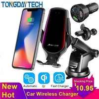 Tongdaytech 10 w carro qi carregador sem fio rápido para o iphone 8 x xs 11 pro max carregador sem fio titular para samsung s10 s9 s8 mais