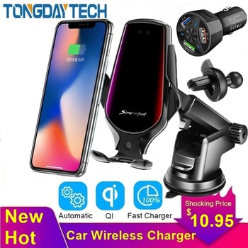 Tongdaytech 10W Car Qi Fast Wireless Charger for iPhone 8 X XS 11 Pro Max Carregador Sem Fio Holder for Samsung S10 S9 S8 Plus