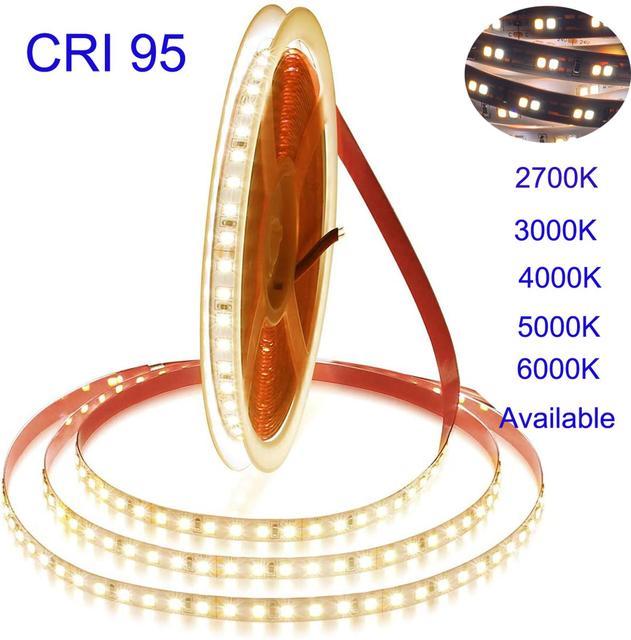 Satılık 2020 yeni 5m 5 yıl garanti beyaz yüksek CRI 95 LED şerit ışık DC 12V 2835 LED sıcak beyaz doğa beyaz