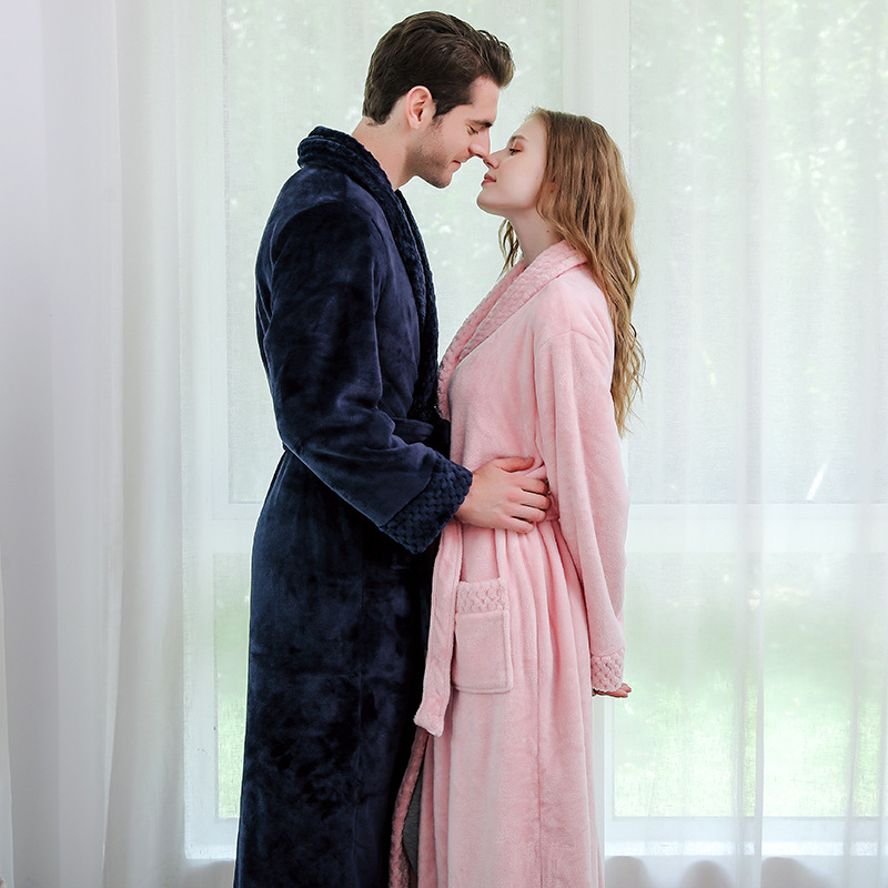 Lovers Winter Flannel Robe Thicken Ultra Long Coral Fleece Kimono Gown Loose Casual Winter Bathrobe Sleepwear Plus Size Pajamas