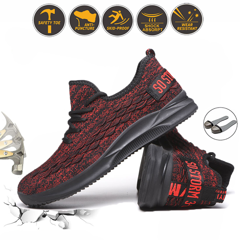 Summer Breathable Mens Work Shoes Steel Toe Cap Puncture Proof Safety Boots Mesh Nonslip Women Sneakers Unisex Industrial Shoes