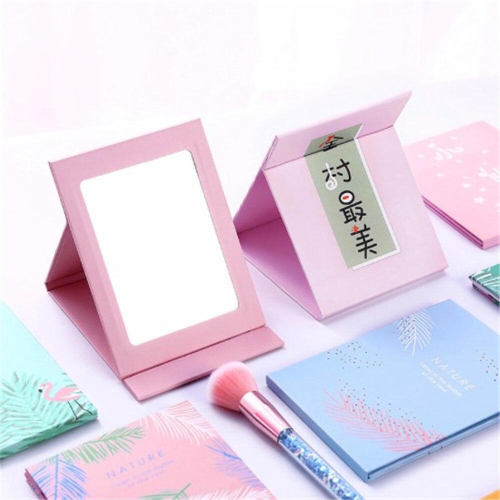 1Pc sama słodycz kolory przenośny koreański moda MIni pulpit księżniczka składane lusterko Cartoon dormitorium lustro papierowe dla dziewczynek