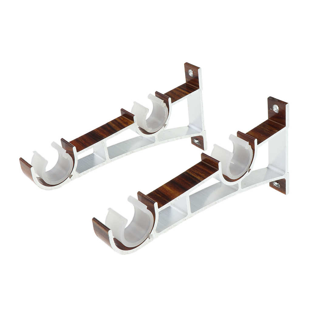 2 Pieces 1 Pair Aluminum Alloy Double Window Curtain Rod Bracket Holder Ceiling Mounted For Diameter 2 8cm Rod Aliexpress
