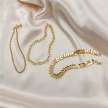 Trendy Multi-layered Gold Color Ankle Bracelet Aircraft Chain O Anklets for Women Beach Accessories Boho Jewelry