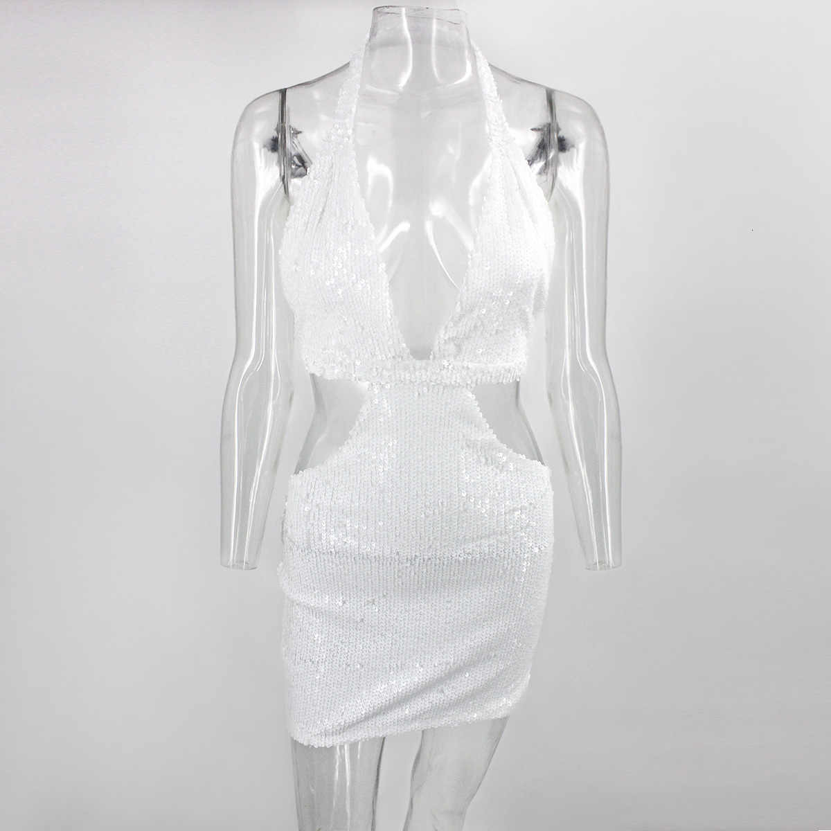Justchicc Sequined Bodycon Dress Women Sleeveless Sexy White Dress Elegant Hollow Out Vestidos Party Mini Dress Clothes Set 2020