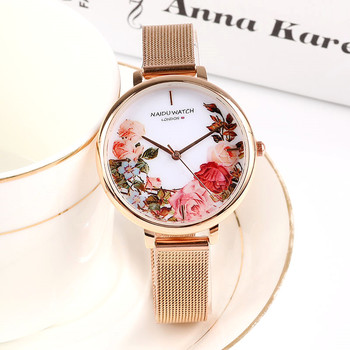 цена Top Brand Women's Wristwatches Luxury Rose Gold Popular Flowers Dial Metal Ladies Bracelet Quartz Clock Fashion Wrist Watch 2019 онлайн в 2017 году
