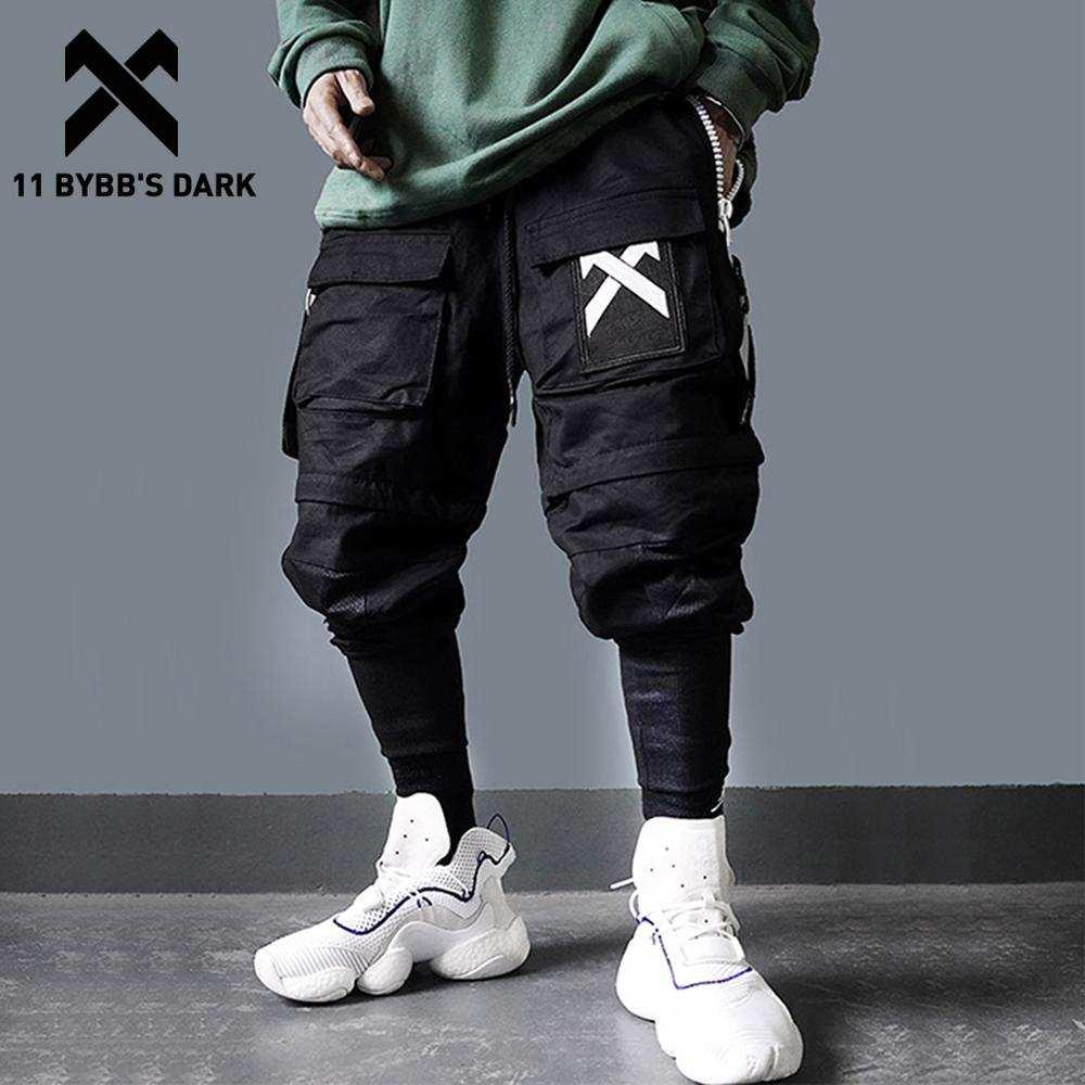 Cargo-Pants Streetwear Joggers Hip-Hop BYBB'S Men Harajuku Man Dark-Detachable Elastic-Waist