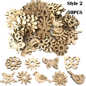 Image 5 - 50/100PCS New Year Natural Wood Christmas Decoration For Home Wooden Christmas Tree Ornament Hanging Pendants Gifts Elk Decora
