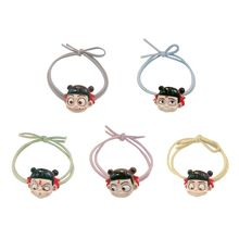 Women Cartoon Elastic Hair Ties 3D Resin Chinese Mythical Figure Ponytail Holder