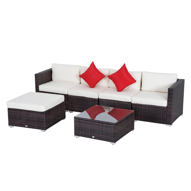 Outsunny Set Rattan Garden Furniture 4 Seats 1 Ottoman 1 Tempered Glass Coffee Table 2 Pillows