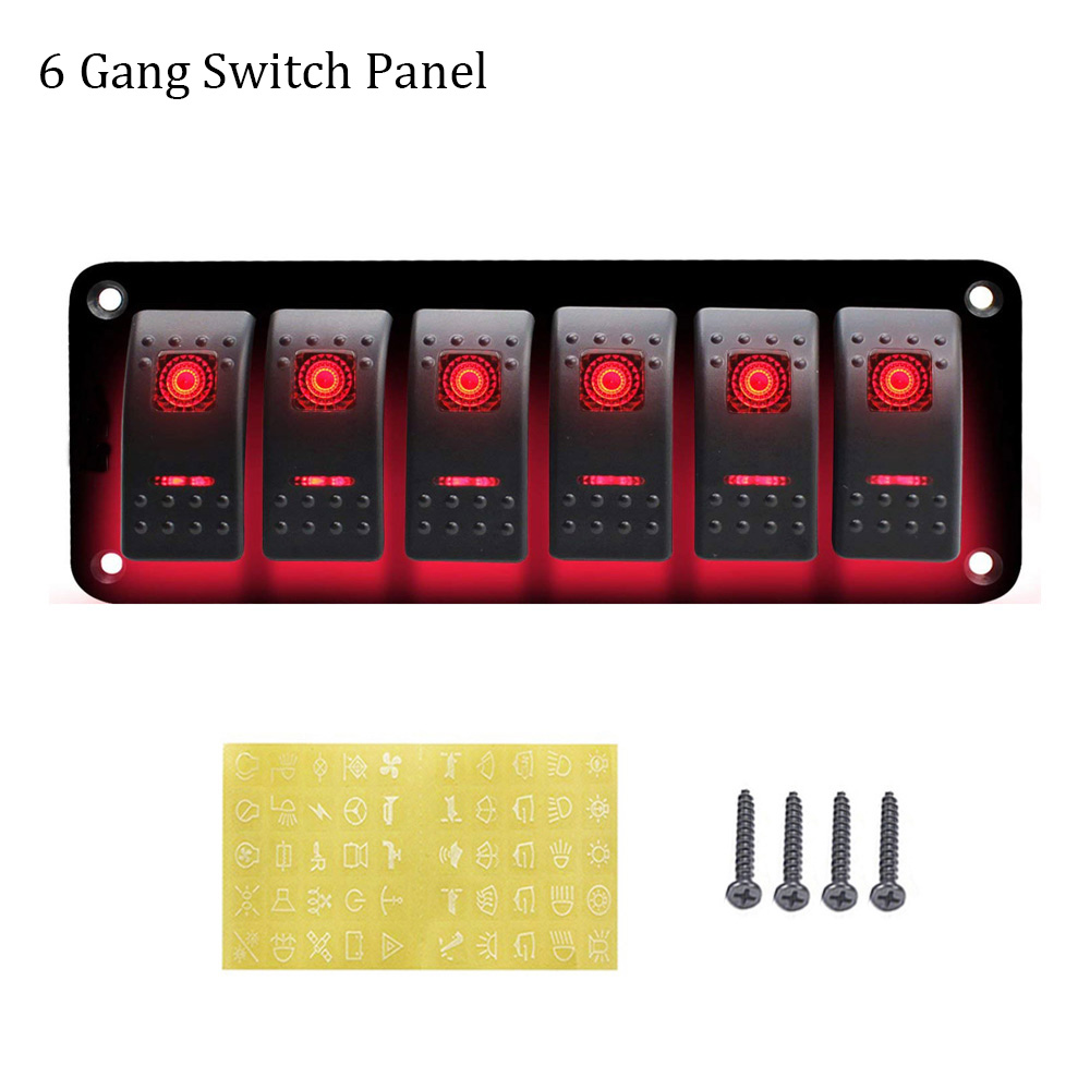 Marine Car Led Rocker Switch Panel Dc12 24v Power Socket Wiring Kits With 4 6 Gang Switch Panel Choose Car Switches Relays Aliexpress