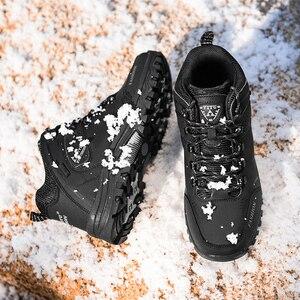 Image 5 - العلامة التجارية الرجال أحذية الشتاء الرجال الثلوج الأحذية الشتاء الدافئة الجلود الرجال أحذية رياضية في الهواء الطلق تنفس أحذية التنزه أحذية عمل
