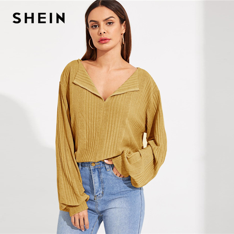 SHEIN Solid Drop Shoulder Rib-knit Stretchy Top Women Spring Autumn Long Bishop Sleeve V Neck Ladies Casual Tshirt Tops