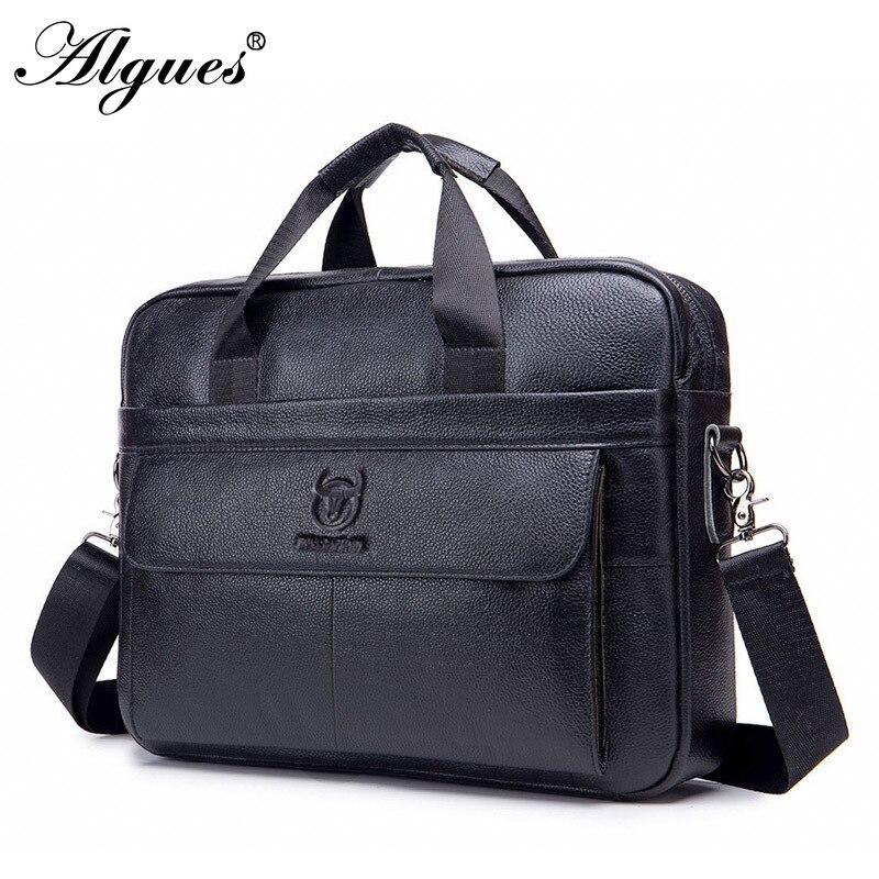 Genuine Leather Men's Trendy Business Briefcase First Layer Cowhide Computer Handbag Shoulder Messenger Bag Office Handbag